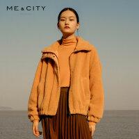 【1件5折价:249.5,可叠券】MECITY女装冬季韩版宽松翻领纯色短款夹克外套女