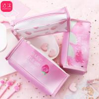 日韩国可爱款文具 可爱创意 韩国创意笔袋小清新少女粉草莓大容量学生笔袋方形文具收纳盒大容量 笔袋