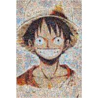 马赛克路飞笑脸木质海贼王拼图1000片抖音动漫周边海报通缉令创意礼物