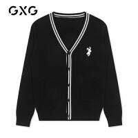 【特价】GXG男装 2021春季V领开襟毛衫黑白时尚毛衣GY130485GV