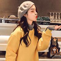 高领卫衣加绒加厚女套头秋冬2018新款韩版学生宽松假两件毛衣外套