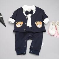 婴儿爬服婴儿连体衣春秋新生儿男女宝宝加厚爬服保暖两件套外出服潮XM-5 藏青色