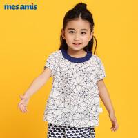 蒙蒙摩米女宝宝短袖t恤纯棉夏装新款女童t恤印花娃娃领泡泡袖上衣