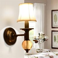 单头水晶美式壁灯简约创意客厅灯卧室床头灯阳台过道布艺墙壁灯具 单头(送光源)