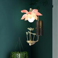 现代简约新中式壁灯客厅卧室床头灯过道阳台创意荷花电视墙壁灯具