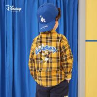 迪士尼男童梭织格子衬衫2021春装新款洋气儿童宝宝童装开衫上衣潮