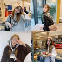 三木子快时尚女装~韩版宽松条纹披肩+中袖T恤两件套