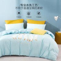 水星家纺 全棉亲肤双面水洗四件套纯棉床单被罩套件居家床上用品 波波白鹅
