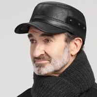 帽子男士冬季护耳平顶帽中老年人爸爸爷爷皮帽秋冬天老人鸭舌帽男