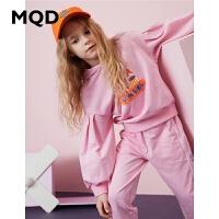 【2件3折:240】MQD童装女童套装2020春新款儿童运动休闲连帽上衣条纹针织裤洋气