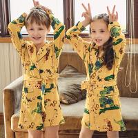 小男孩小女孩浴袍春夏款睡衣夏季浴衣小孩纯棉薄款3-12岁儿童睡袍
