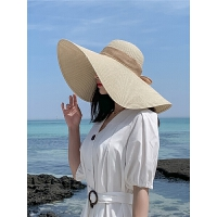 遮阳帽子女夏遮阳帽防晒大沿可折叠草帽防紫外线海边太阳帽青年
