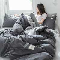 北欧风水洗棉四件套全棉纯棉床单被罩被单被套宿舍三件套床上用品