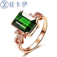 佐卡伊 女王 玫瑰18K金1.5克拉绿碧玺戒指彩色宝石彩宝