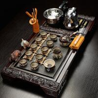 【优选】陶瓷简约茶具套装整套家用全自动喝茶台茶道实木茶盘紫砂 34件