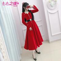 七七之缘冬装新款女装 红色钉钻绒面修身礼裙长袖长裙连衣裙