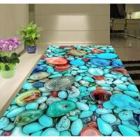3D地毯客厅沙发茶几地毯卧室床边毯儿童地毯厨房浴室地垫门垫定制 银色 蓝石头