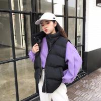 香港2018冬新款休闲背心马甲女中长款宽松大码羽绒棉马夹外套女装 黑色 均码
