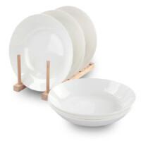 纯白骨瓷8.5英寸饭盘 6只装 陶瓷深汤盘 骨瓷餐具