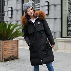 2018新款棉服修身显瘦中长款两面穿大毛领加厚棉衣外套