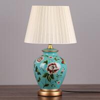 卧室床头灯客厅书房新中式美式乡村欧式田园布艺温馨暖光陶瓷台灯