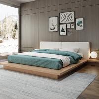 日式榻榻米床北欧现代简约双人板式15米18米实木主卧落地床矮床 +乳胶床垫 1800mm*2000mm 组装式架子床