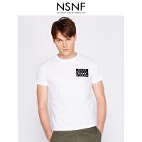 NSNF装饰刺绣徽章纯棉圆领白色T恤男修身 短袖t恤男装2017新款 修身圆领针织短袖