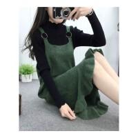 秋冬新款针织吊带两件套荷叶边中长款背带裙女羊毛混纺衣套装裙