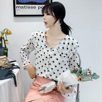 波点娃娃领雪纺衬衫女长袖秋季新款洋气荷叶边喇叭袖甜9393#