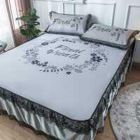 冰丝凉席床裙款1.8m床三件套1.5可水洗折叠天丝空调席单人1.2夏季