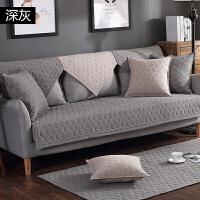 纯色北欧沙发坐垫纯棉布防滑现代简约四季全棉沙发垫套巾定制