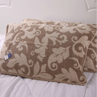 枕巾全棉一对装提花树叶婚庆 情侣枕头毛巾定制 棕色一对