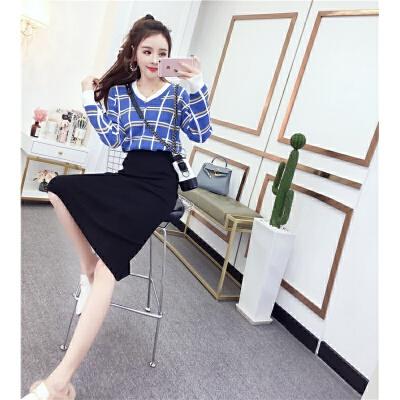 网红两件套装俏皮冬季韩版洋气格子毛衣加裙子高腰包臀针织半身裙