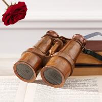 家居美式样板间书房软装饰品双筒望远镜摆件 复古做旧纯铜摆件装饰摆件工艺礼品 双筒望远镜