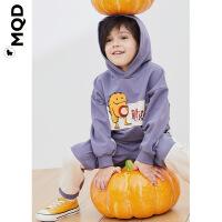 MQD男小童连帽运动套装春秋新款儿童烟雾紫衣服儿童洋气两件套