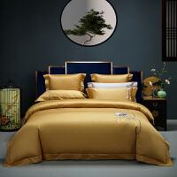 伊迪梦家纺新中式床上用品四件套六件套高端刺绣120支全棉纯棉床单被套中国风国潮款4件套SK06