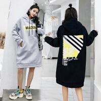 孕妇卫衣2018新款韩版大码加绒上衣宽松中长款秋季连衣裙套头外套ZT003