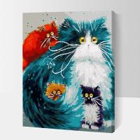 油画diy客厅画 数字油画手绘油彩画客厅大幅抽象风景动物装饰画40*50黑白猫咪B 50*65配成品外框黑色 配件齐全,