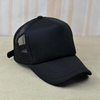 棒球帽韩版潮男女薄款光板黑色大号网帽货车帽子