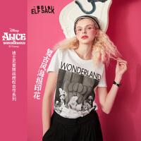 【直降后到手价:62】【爱丽丝合作系列】妖精的口袋复古印花白色短袖t恤女2021春新款