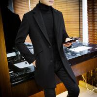 风衣男中长款新款韩版修身休闲混纺羊毛呢子大衣春秋季妮子外套冬