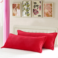 新品冬季用法兰绒双人枕套1.2m1.5米1.8法莱绒长枕套珊瑚绒双人枕头套定制 红色 加厚款 枕套