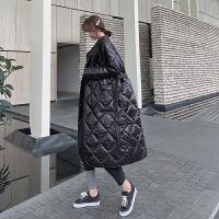 轻薄羽绒女2018秋冬新款韩版菱格纯色宽松加厚保暖中长款外套