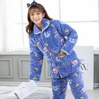 睡衣女冬季三层加厚夹棉女士珊瑚绒法兰绒冬天加绒保暖家居服