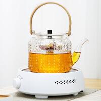 唐丰茶壶玻璃蒸煮两用烧茶壶普洱红茶家用中式花草煮茶器锤纹透明