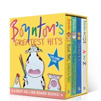 Boynton's Greatest Hits #1 桑德拉・柏因顿4本纸板书盒装Blue Hat, Green Hat; A to Z; Moo, Baa, La La La!; Doggies