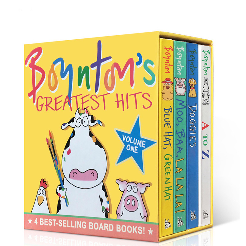 Boynton's Greatest Hits #1 桑德拉·柏因顿4本纸板书盒装Blue Hat, Green Hat; A to Z; Moo, Baa, La La La!; Doggies Sandra Boynton《蓝帽子,绿帽子》《哞咩啦啦!》《小狗们》《A到Z》