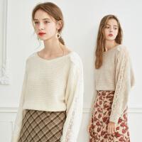 【2件3折】ONEMORE 2019秋季新款蕾丝拼接针织衫时尚甜美法式宽松毛衣女士