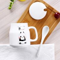儿童马克杯小容量有盖陶瓷杯子可爱超萌带勺家用牛奶喝水水杯