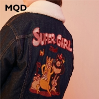 【1件3折:270】MQD童装女童加绒棉衣2019冬装新款儿童牛仔印花保暖羊羔毛领